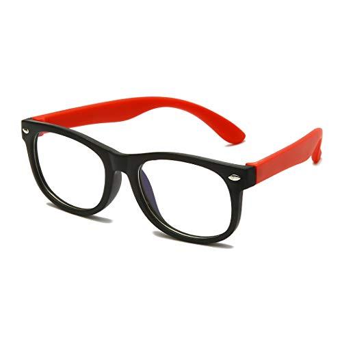 Gafas para 3-10 años Niños Anti-Luz Azul Irrompibles para Niñas Chicos Anti Fatiga Visual para Computadora Teléfonos TV Videojuegos Gafas de Ordenador Protección UV Antirreflejo (Rojo negro)