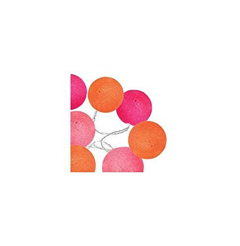 AC-Déco Guirlande LED 10 Boules - D 6 Cm - Pastel Orange Et Rose