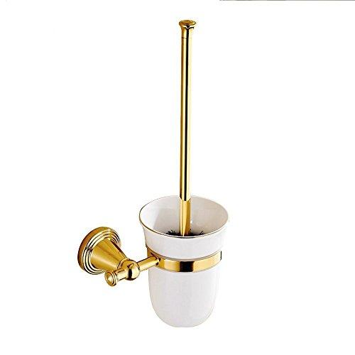 CASEWIND Gold Toilettenbürstenhalter mit Becher und Bürste, Messing Konstruktion Poliert Gold Finished Wandmonteiren Wand Zum Bohren für WC Toilette