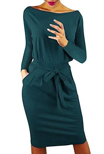 Femme Poche Décontractée Mini Robe de Soirée Cocktail d'été à Manches Longues Travail Elégante Unique Robe Crayon Occasionnel Genou avec Ceinture, Vert