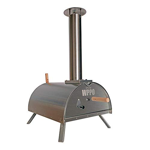 WPPO Outdoor Pizza Oven Lil Luigi Multi-Fuel Deluxe Stainless Steel, Wood Fired Portable Pizza Oven and BBQ, Built-In Thermometer + FREE Chef's Kit & Protective Cover