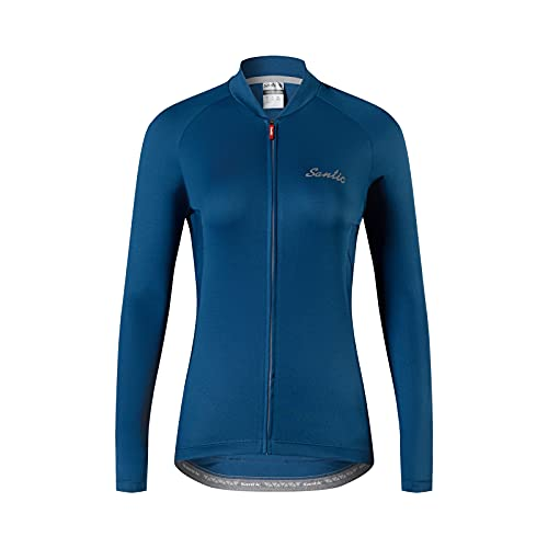 Santic Ciclismo Jersey Donne Manica Lunga Ciclismo Top Ladies Ciclismo T Shirt Ciclo Jersey, E-navy, L