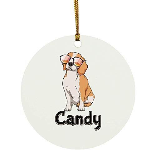 Weezag Candy Beagle Dog Christmas Ornaments Tree Decor Decorations, Custom Personalized with Your Name Xmas Ornament Dog Lover Gifts for Pet Owner, 9321