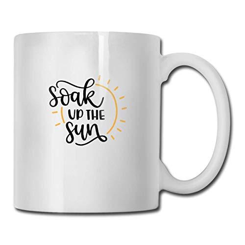 N\A Novedad Tazas de café Soak Up The Sun SVG Archivo Cortado Cerámica Té Blanco Taza de Leche 11 onzas