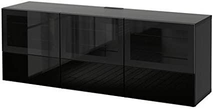 Ikea TV bench with doors and push-open drawers, black-brown, Selsviken high gloss/black clear glass 8202.261711.22