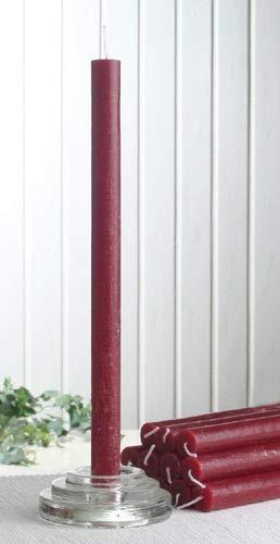 CandleCorner Rustik-Stabkerzen, 12er-Pack, ca. 30 x 2,1 cm, rubinrot-Bordeaux