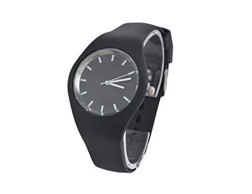 Miniblings Herren Damen Armbanduhr DAU HAU Uhr Zeit Gummiband Schwarz Gummi
