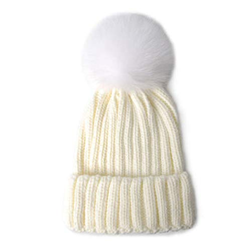 erfgh Sombreros de Lana para Mujer, Gorras de Hombre para abrigarse en otoño e Invierno, Gorros de Punto de Color Liso, Grandes Bolas de Pelo Sentirse Bien