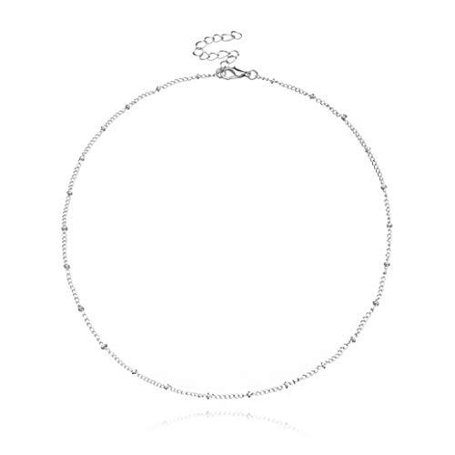 zwyjd ZWSHAN Einfache Kupfer Perlenkette Damen Kurze Schlüsselbein Halskette Minimalismus Vintage Elegante Kette Choker Schmuck Geschenk für Frauen Mädchen,Silber