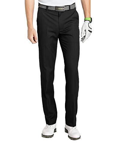 IZOD Men's Flat Front Traditional Slim Fit Basic Microtwill Golf Pant, Black, 32W x 32L
