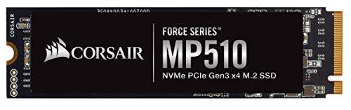 Corsair MP510, Force Series, 480 Go Ultra-Rapides PCIe Gen 3 x4, M.2 NVMe, Disque SSD (Jusqu'à 3 480 Mo/s Lecture Séquentielle et 2 000 Mo/s D'Écriture Séquentielle, 3D TLC NAND et Format M.2) Noir