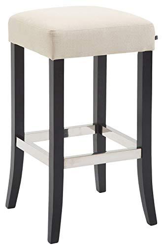 CLP Barhocker VENTA mit Stoffbezug und Holzgestell   Tresenhocker mit gepolsterter Sitzfläche und Fußstütze aus Aluminium, Farbe:creme, Gestell Farbe:Schwarz