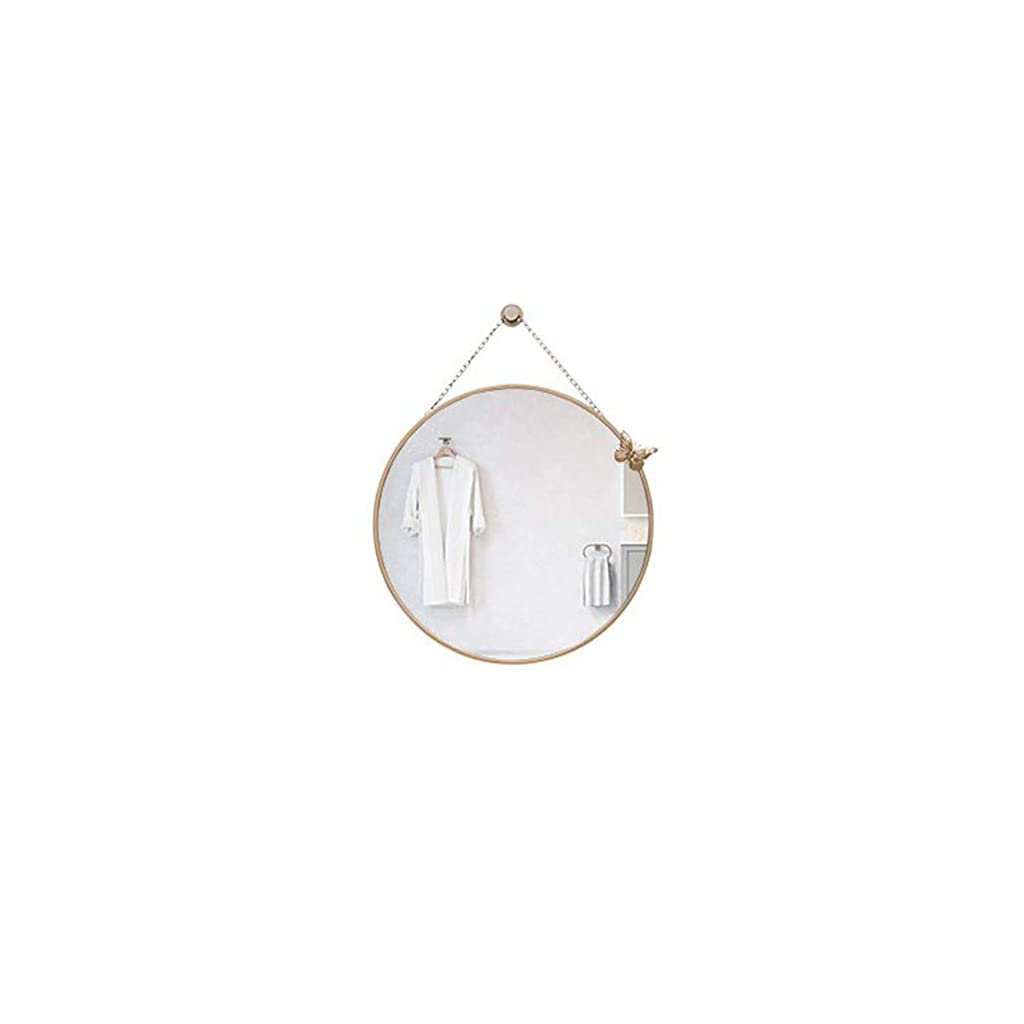 WZP Miroir-miroir de salle de bain, miroir de salle de bain mural rond doré avec chaîne suspendue, imagerie haute…