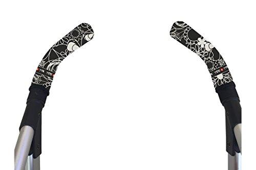 Tris&Ton Fundas empuñaduras verticales Modelo Black Print, empuñadura funda para silla de paseo cochecito carrito carro (Tris y Ton)