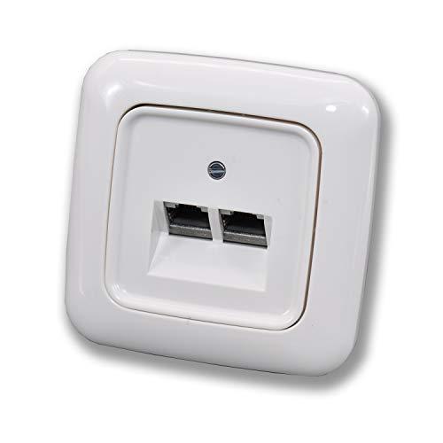 BUSCH JÄGER Komplettset / 2er Netzwerkdose - Rutenbeck 2-fach UAE Anschlussdose Cat.6A UAE + Rahmen + Abdeckung - Reflex SI alpinweiß