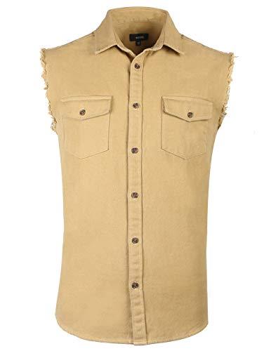 NUTEXROL Mens Sleeveless Denim/Cotton Shirt Biker Vest 2 Front Pockets Khaki 2XL