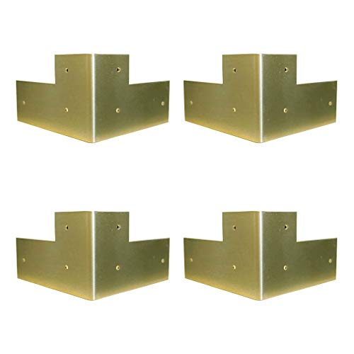 Tiazza 4Pcs Antique Pure Brass Corner Protectors Braces Classical Furniture Tables and Chairs Cabinet Corner Guard Edge Cover (Gold)