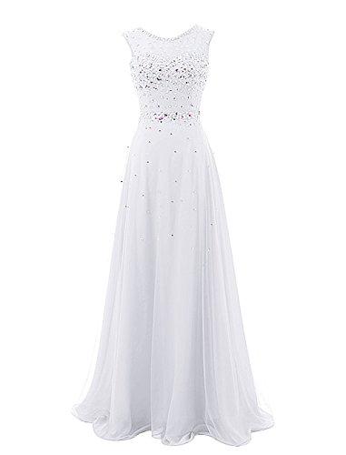 WedTrend Damen Tüll Abschlussball Kleid Lang Partykleid mit Perlen WT10051-White-14