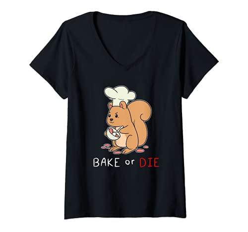 Mujer Pastel de repostería de ardilla azucarada Pastelería de Camiseta Cuello V