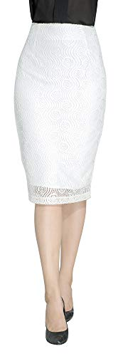 Marycrafts Women's Lace Lined Pencil Knee Length Midi Skirt XS White Flower Wave
