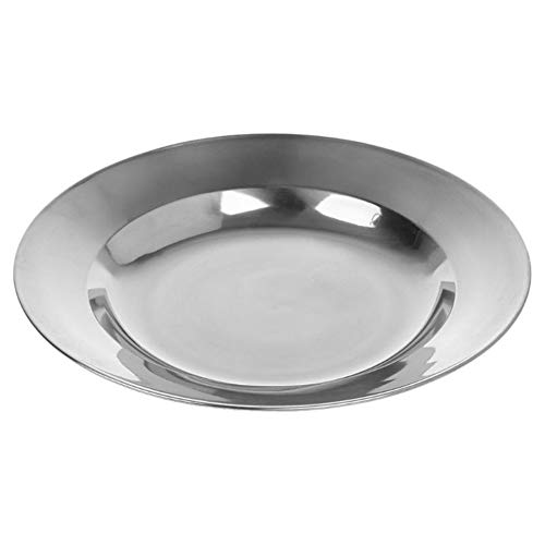 WBFN Gerechten platen, roestvrij stalen ronde Dinerplaat Dish Tray Voedsel Container Outdoor Camping Picknick tafelgerei 16-24cm (Plate Size : 24cm)