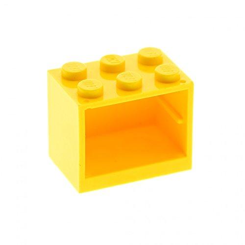Preisvergleich Produktbild Bausteine gebraucht 1 x Lego System Schrank Gehäuse gelb 2 x 3 x 2 Tür Kiste Box Container Cupboard Noppen voll 4532a
