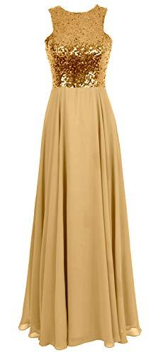 MACloth Women Sequin Wedding Party Evening Gown Sleeveless Long Bridesmaid Dress (44, Gold)
