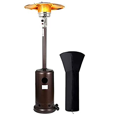 WASAKKY Patio Heater for Outdoor - Outdoor Heaters with Wheels,46000 Btu Stainless Steel Propane Heater for Garden,Party