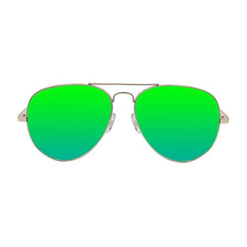 Ocean Sunglasses Banila Aviator - Gafas de Sol metálicas - Montura : Dorada - Lentes : Verde Espejo (3701.1)