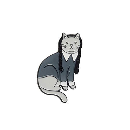 Weryffe Vintage Katze Hexe Mittwoch Katze Pin Goth Katze Punk Dunkle Broschen Jacke Mantel Kragen Pin Abzeichen Tuch Dekoration Zubehör (Grau)