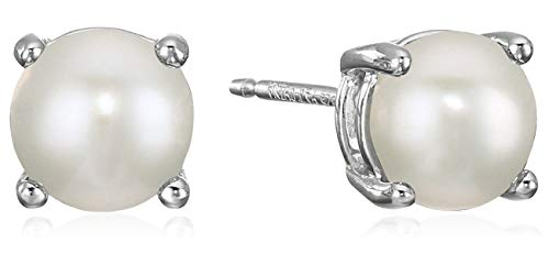 Amazon Essentials Sterling Silver Round Freshwater Cultured Pearl Birthstone Stud Earrings (June)