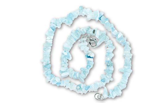 Taddart Minerals - Collana con frammenti blu in pietra naturale acquamarina lunga 45 cm – realizzata a mano