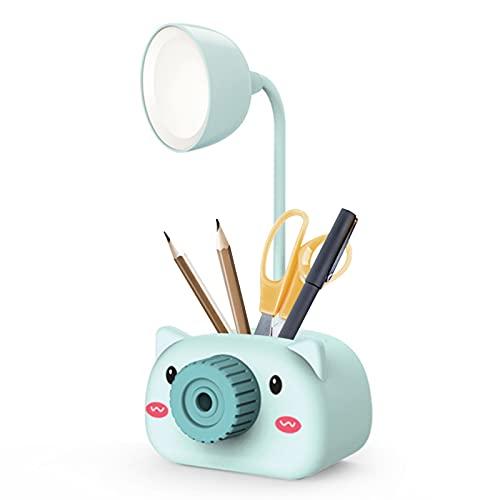 Montloxs Lámpara de escritorio de mesa recargable por USB LED Lindo portalápices de dibujos animados con sacapuntas Cuello flexible Luz nocturna para cuidar los ojos Soporte de teléfono para oficina