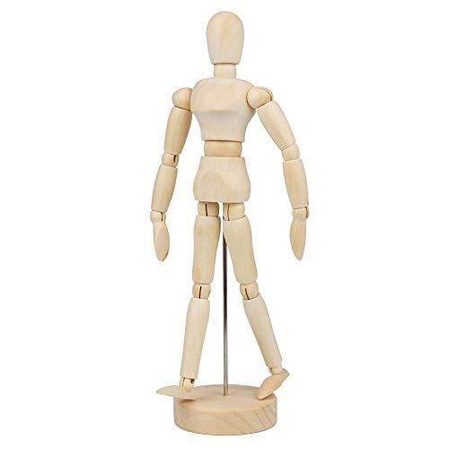 Gobesty Gliederpuppe aus Holz, 20 cm Gliederpuppe, Hölzerne Mannequins, bewegliche Modellpuppe, Holzmännchen zum Zeichnen, Malen, Kunst, Modellfigur (Männlich und Weiblich)