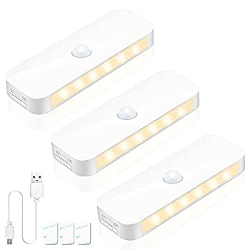 Motion Sensor Closet Lights Yurnero Rechargeable LED Under Cabinet Lighting Wireless Battery Operated Light Magnetic Stick-on Wardrobe,Kitchen,Motion Activated Indoor Step Lights Warm White,3Packs