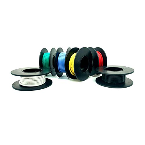 ACMOMO Protoboard Cable eléctrico De 30 AWG, juego de cables, juego de cables de gancho, 600 V, cable de silicona flexible (10 M e 6 colori diversi) (⌀ 0.05mm/ 30 awg)