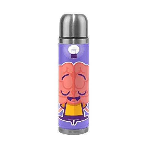 Thermos ThermoCafé Botella térmica aislada, Pensamiento cerebral de dibujos animados,Frasco de Vacío de Acero Inoxidable 500 ml