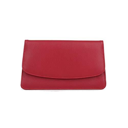 MANAGE Kosmetiktasche Damen mit Spiegel - Schminktasche klein aus echtem Leder - edle Clutch Rot 18,5x10x3,5cm