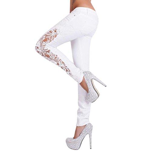 Zarupeng Spitze Hohle Leggings, Mode Damen Tights Sportleggings Casual Blumen Spitze Low Taille Jeans Skinny Aushöhlen Lange Hüfthoch Hosen (M, Weiß)