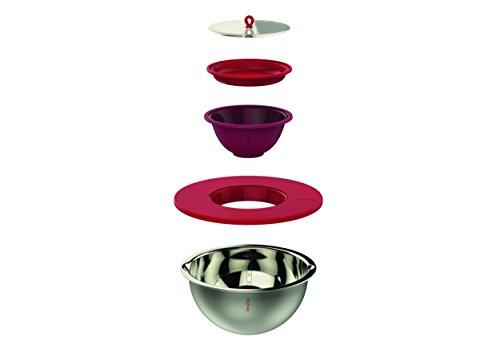 Terraillon 13866 Kit bol mixeur premium, Acier Inoxydable, Rouge, 27 x 27 x 15,5 cm