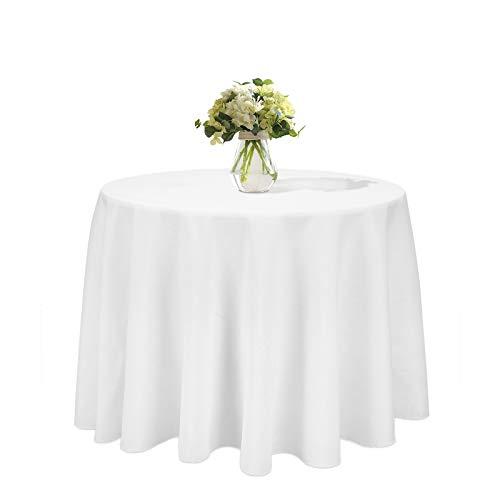 LUVODI Nappe Ronde 230cm Blanche - Nappe Mariage en Polyester Infroissable Anti Tache Décoration de Table pour Réception Anniversaire Banquet Réunion Party
