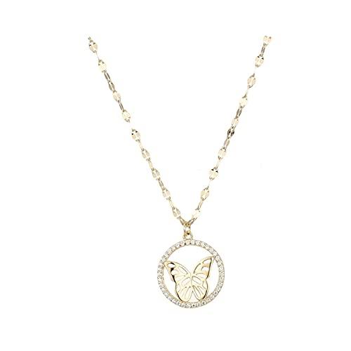 PNku Collar con colgante de plata de ley S925 de mariposa versátil para mujer