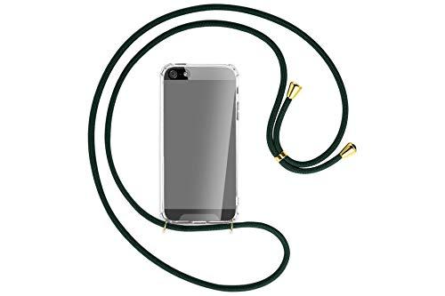 mtb more energy Collana Smartphone per Apple iPhone 5, 5S / iPhone SE (4.0'') - Verde Scuro/Oro - Custodia indossabile per Collo - Cover con Cordoncino Tracolla