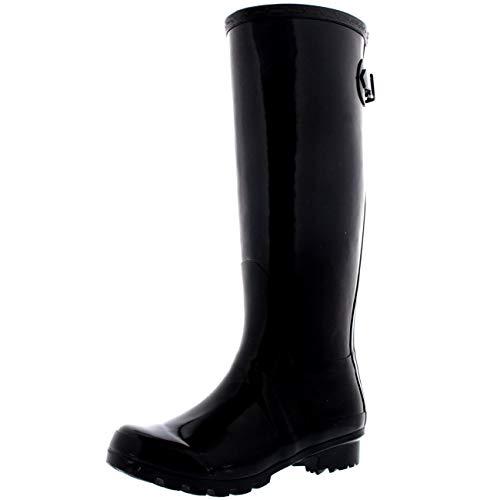 POLAR Womens Adjustable Back Tall Gloss Wellington Winter Wellies Snow Rain Boots - Black - 9-40 - CD0019