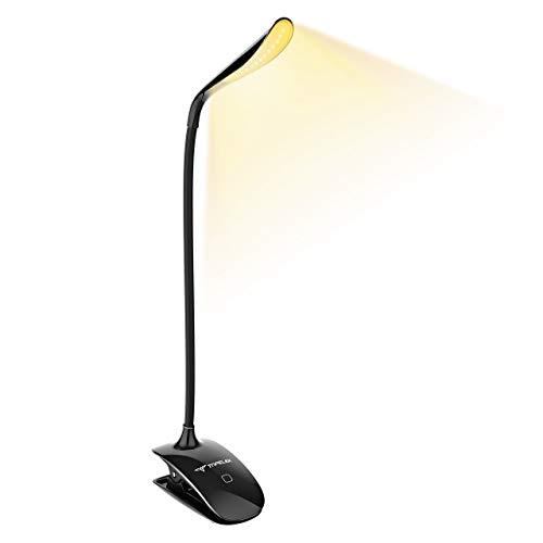 TOPELEK [Lumière Blanc Chaud et Froid] 15 LED Lampe de Lecture Clipsable Tactile, Lampe de Bureau Rechargeable USB Câble, Température de Couleur et Luminosité Réglables pour Travail - Noir