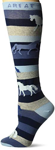 Ariat Women's Stripe Horse Over The Calf Novelty Sock, Blue, One Size