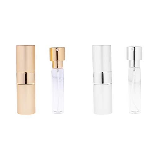 Baoblaze 2 Pièces 15ml Mini Bouteille Réutilisable de Parfum Jet d'Atomiseur - Or et Argent