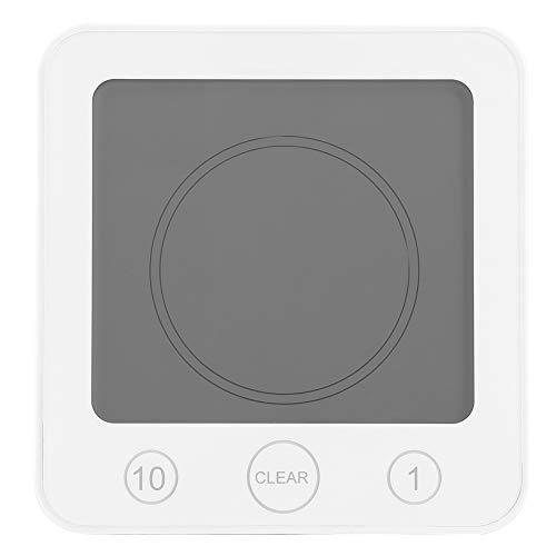 Raguso wasserdichte Badezimmer Küche Timer Wanduhr Digital LCD Thermometer Hygrometer Saugnapf Digital Timer Duschuhr für Zuhause(Weiß)