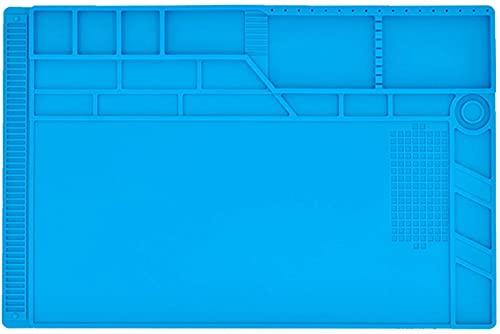 Poweka - Esterilla de reparación de silicona con aislamiento térmico con regla de escala y posición de tornillos para soldador, teléfono y reparación de ordenadores 932°F, tamaño: 550 x 350 mm
