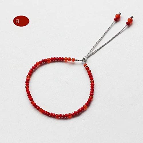 SONGK Pulsera de Hilo Hecha a Mano de Piedra Natural 3mm Cuerda roja Cuentas pequeñas Pulseras Finas para Mujeres joyería de Yoga